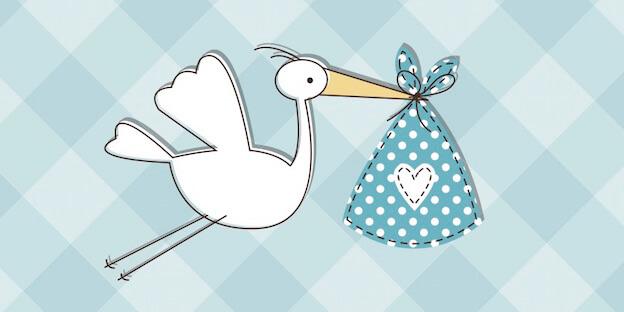 Geburt eines Kindes – Storch