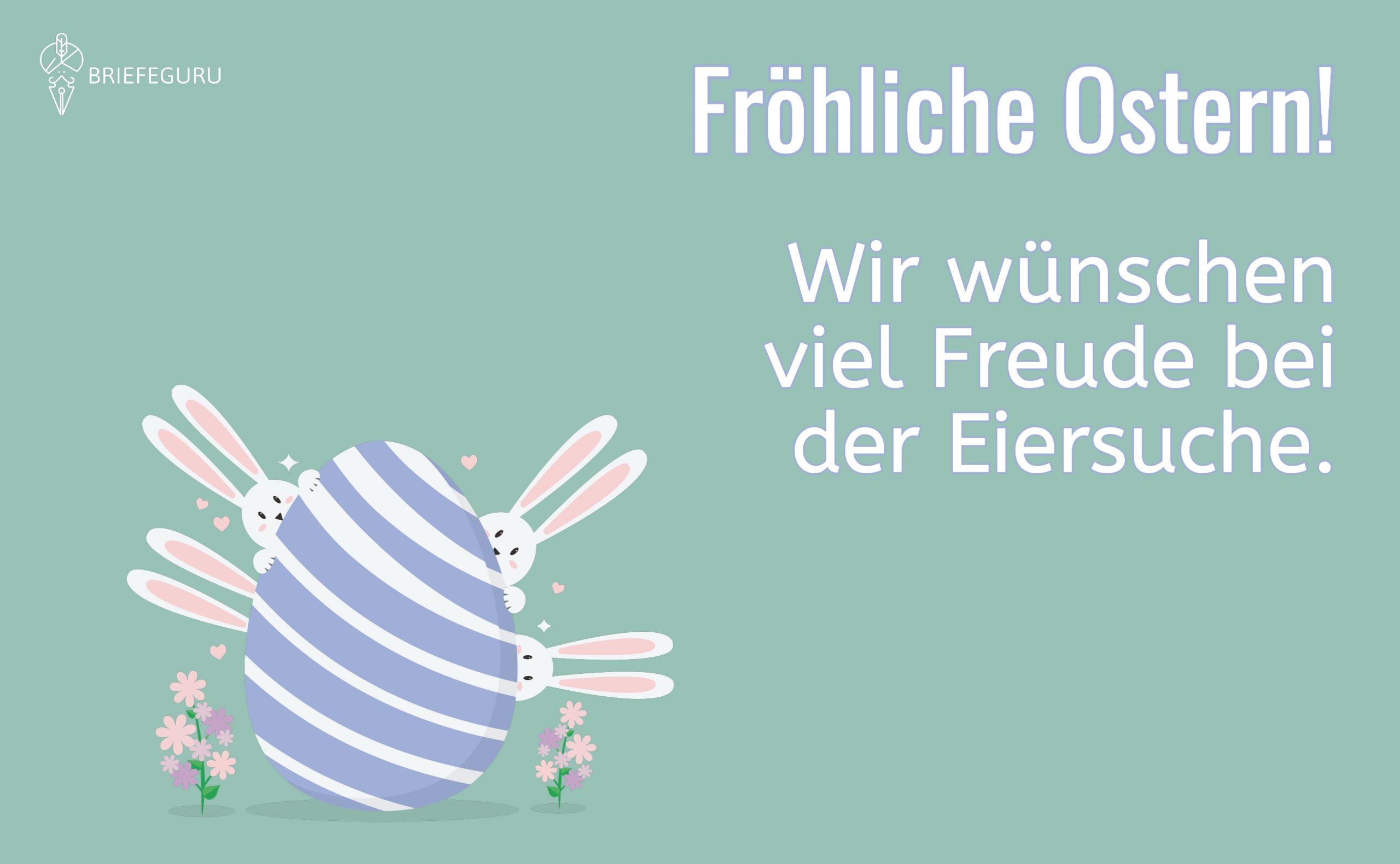 Fröhliche Ostern! Wir wünschen viel Freude bei der Eiersuche.