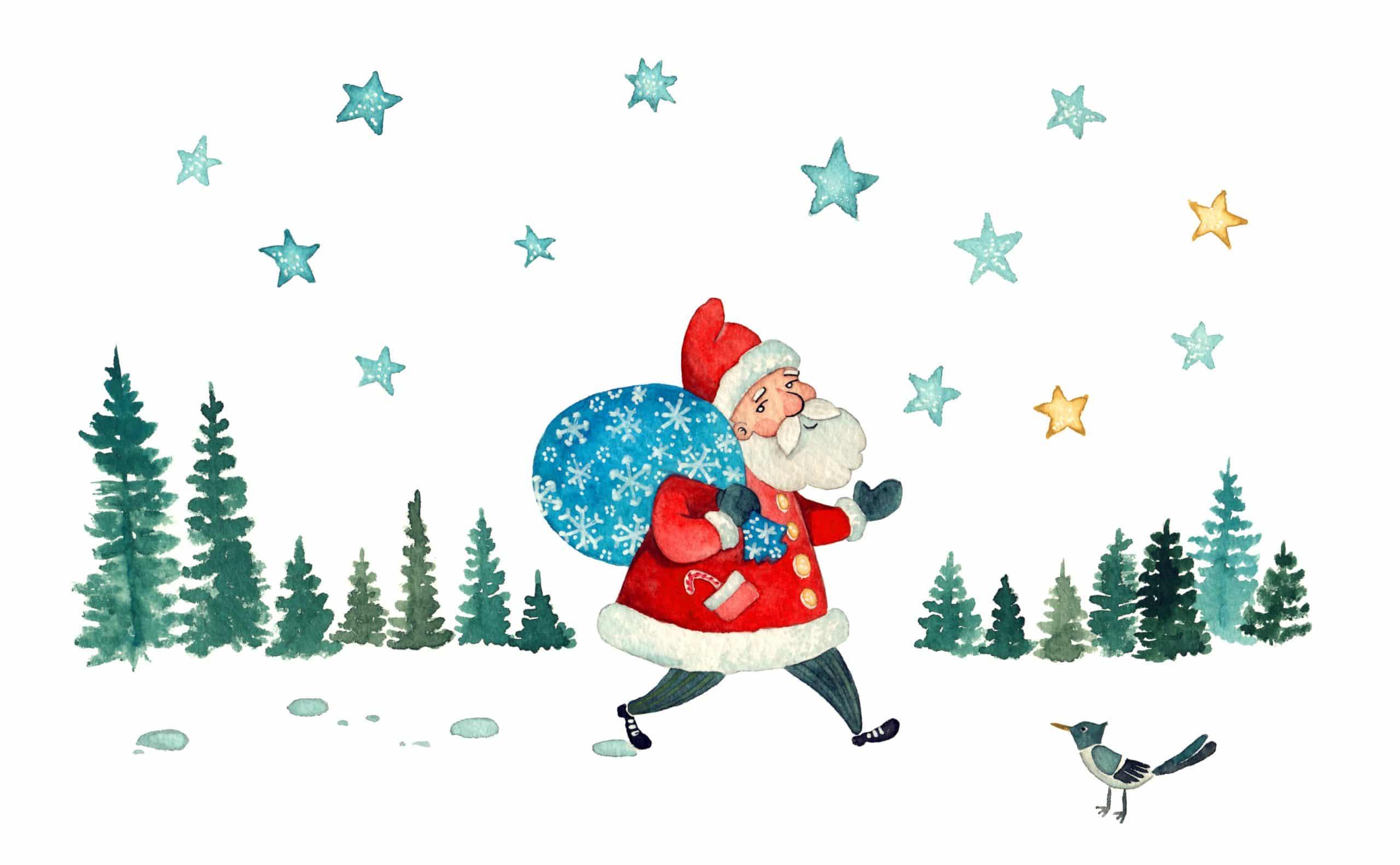 Der Weihnachtsmann zieht um das Haus